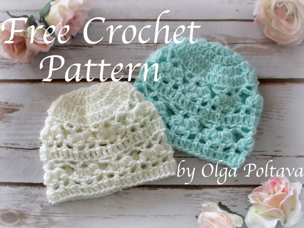 Newborn Hat With Lace Design Free Crochet Pattern Olga Poltava