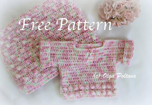 Popcorns Baby Sweater And Blanket Free Crochet Pattern Olga Poltava