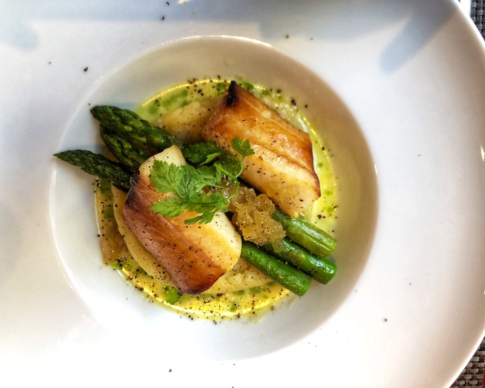 Diva Smoked Black Cod - Pomme puree, grilled asparagus, fennel marmalade & celery nage