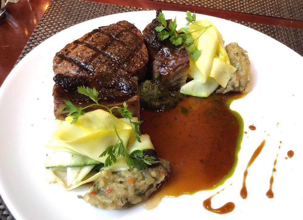 Filet Mignon - Boulangere potatoes, summer squash, morels & chimmichurri