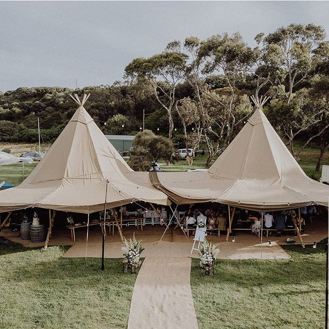 Double tipi setup at the beautiful Flinders Yacht Club 👌 - 📷 @white_shutter_photography