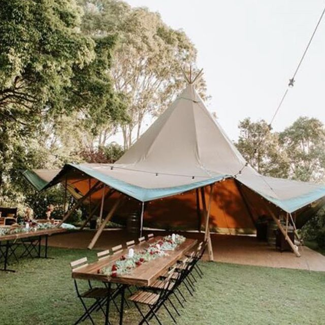 Dining outside. Dancing inside. 🕺💃 - Nice work @goldcoast_tipis 👏 Styling & Furniture @arcticfoxhire 📸 @aaronshumphotography