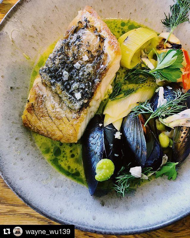 Premium ocean grown barramundi, plump @kinkawookashellfish mussels, charred leek and broad bean. Simple. Delicious #sustainable #sydneyeats #longlunch
