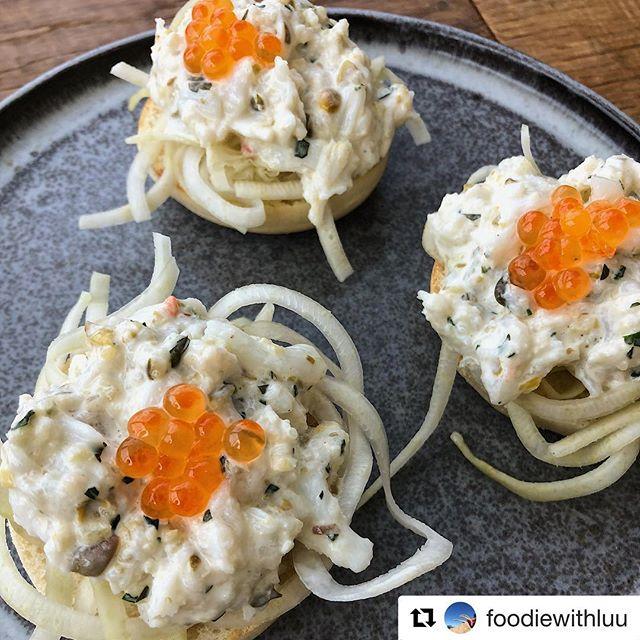 English muffin, spanner crab remoulade, salmon roe - great 📷 @foodiewithluu 🦀 #springmenu #tasteofaustralia #artandfood