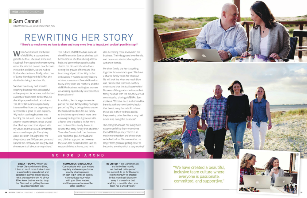 Sam Cannell doTERRA Leadership Magazine