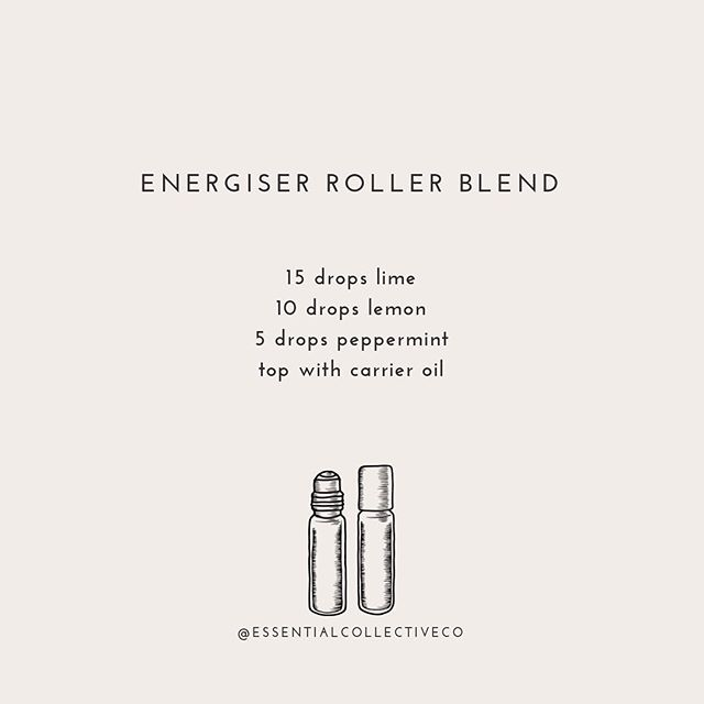 Need an energy boost? ⠀⠀⠀⠀⠀⠀⠀⠀⠀ This Energiser Roller Blend will lift your spirits!  In a 10ml roller add: 15 💧 Lime 10 💧 Lemon 5 💧 Peppermint ⠀⠀⠀⠀⠀⠀⠀⠀⠀ Top with carrier oil and roll on your wrists as needed✨ Enjoy!