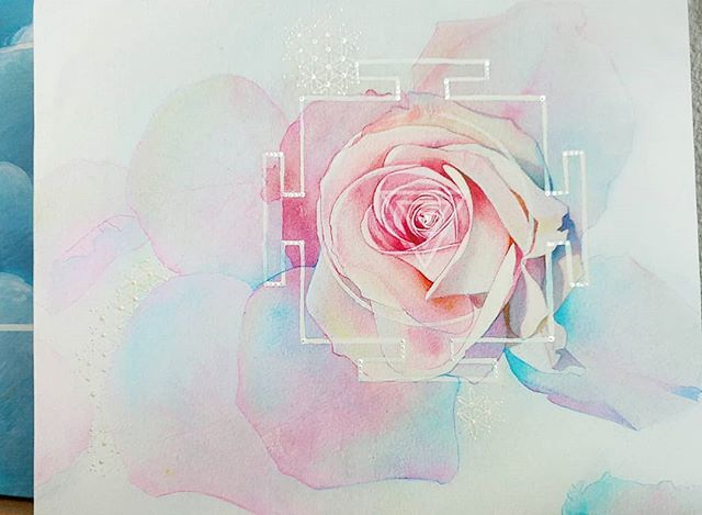 Roses are red.. but not all roses! The yantra of graceful strength. Be yourself, be beautiful, and harness your inner strength.  I will have this  embellished mounted print for sale at the Buckman Art show and sale this weekend. #yantras #innerstrength #rose #cityofroses #buckmanartshow