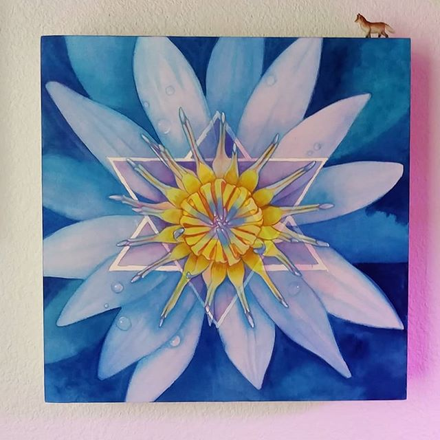 The blue lotus. A symbol for wisdom and victory over the senses. The blue lotus roots it's self in the mud, pushing up to the sun. It's known for it's medicinal properties to calm the spirit. #watercolor #yantra #indigo #lotus #meditation #wisdom