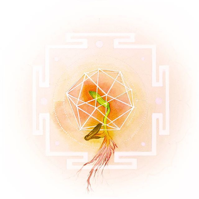 Sacral chakra, also known as Svadhishthana. A seedling, coming out of it's shell. A place to start creating, a place to start expressing creativity. She is not yet blooming, or aware of her actions, yet there is emotion. 🎨🌅Are you putting time aside to express yourself through creative means?🌅🎨 #sacralchakra #water #svadhishthana #watercolor #expression #seedlings #yantra #creativity @riverwynnphotography
