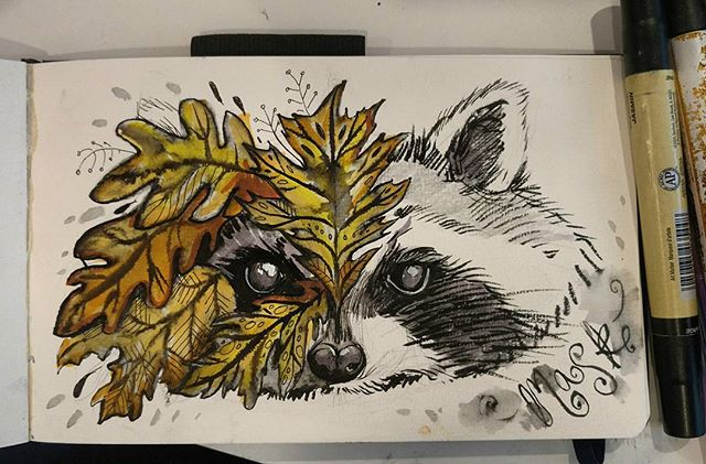 "Last inktober for this year! Yay! I made it. I think next year I'm only doing 15 days.  The word was ""mask"". #inktober2017 #inktober #mask #raccoon #pentelbrushpen #prismacolormarkers #overit"