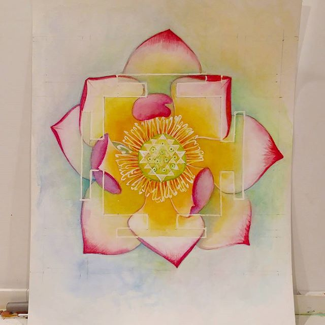 Color study. Revisiting old ideas, and bringing them to now.  #yantra #watercolor #lotus #sriyantra #rainbowgoddess #spring