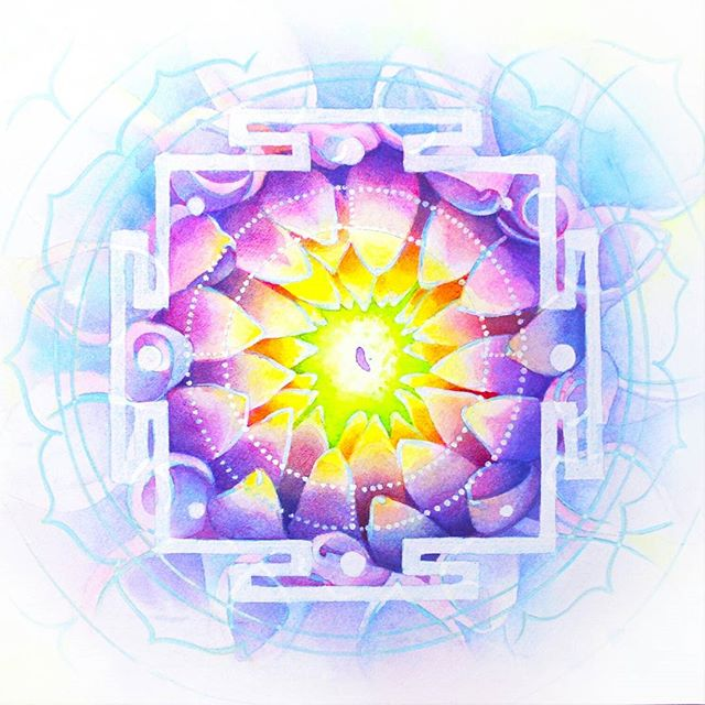 Layers, layers and more layers. I am happy to be calling this series done. Check out my website for the complete chakra set. We start as a seed, then as we grow, we learn to bloom.  www.shannoneatonart.com  #watercolor #yantra #chakra #dahlias