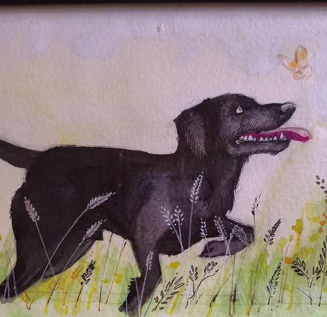 Woof! A quick drawing I did for a friends b-day who has black labs.  #watercolor #kohinoor #blacklabrador #woof #itsadogslife
