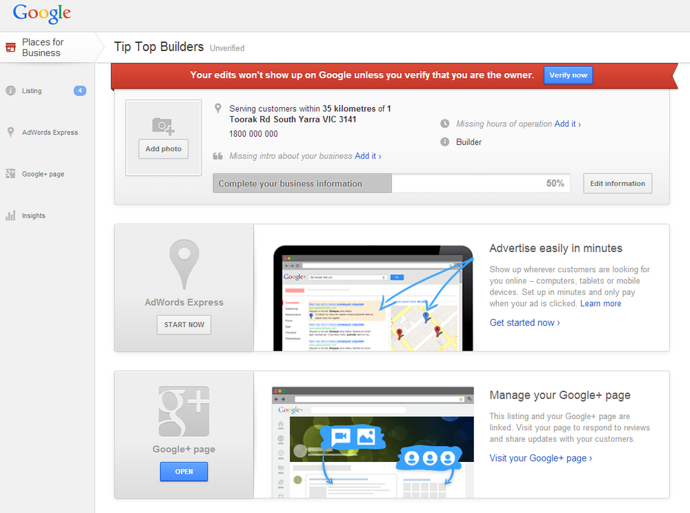 The Google My Business dashboard allows you to manage the details of your Google My Business map listing.