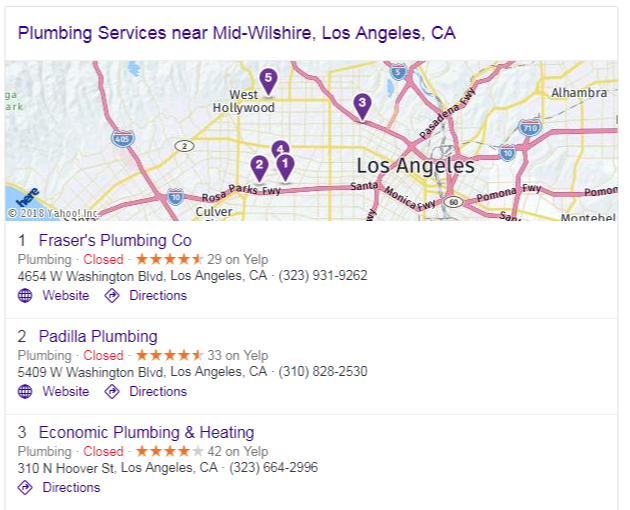 "The Google Maps ""3 pack"" of listings included in a Google search result"