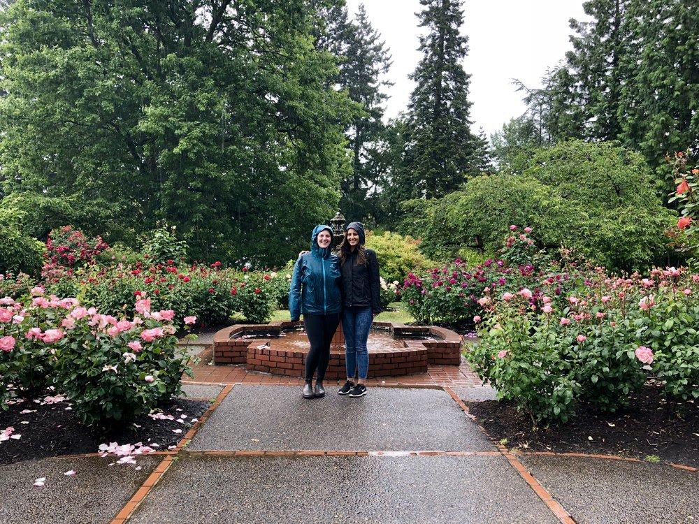 pouring rain at the rose garden!