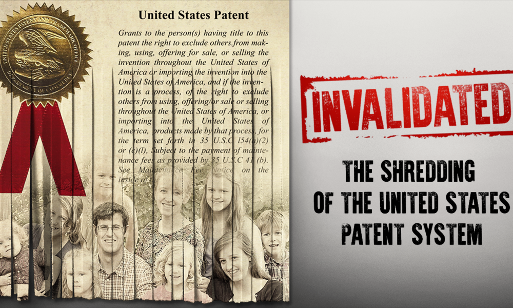 Friday, Dec 7, 8:00pm: INVALIDATED   Thrust into a battle to save his invention, Josh Malone, uncovers the shocking truth that our patent system is weakening, property rights are at risk and American Innovation is dying! Learn how big tech companies, China and our own Patent office are robbing American inventors of their ideas, their labor and their financial investment .