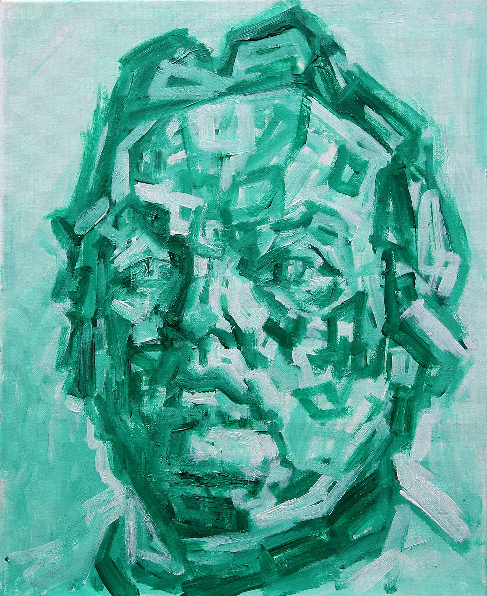 Emerald Self Portrait   acrylic on canvas  40 by 50 by 1.75 cm  unframed  £700