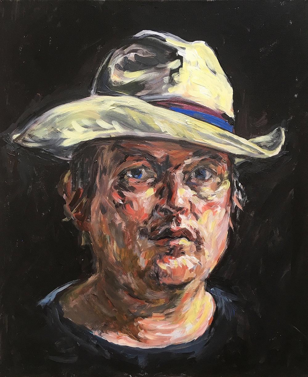 Self portrait in beach hat  acrylic on canvas  £700