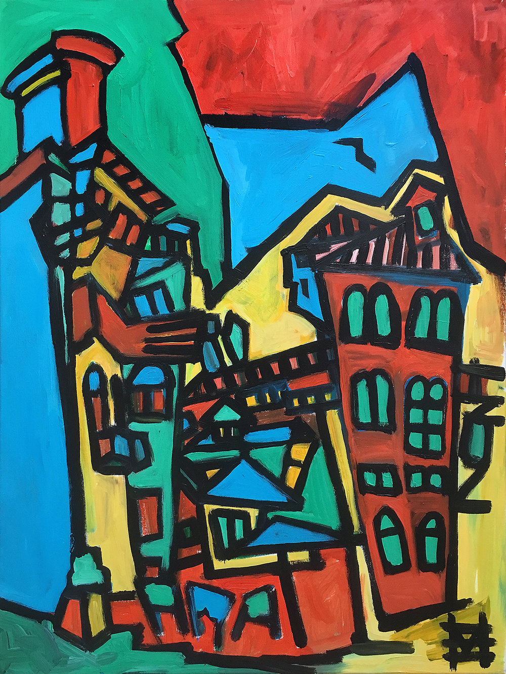 Venetian square  St Giovanni e Paolo  acrylic on canvas  60 by 80 cm  £500  unframed