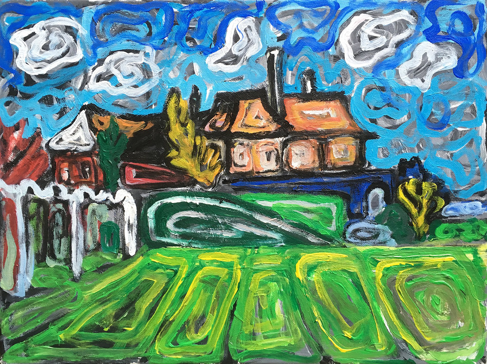 House on the orwell river  acrylic on canvas  £500  30 by 40 cm