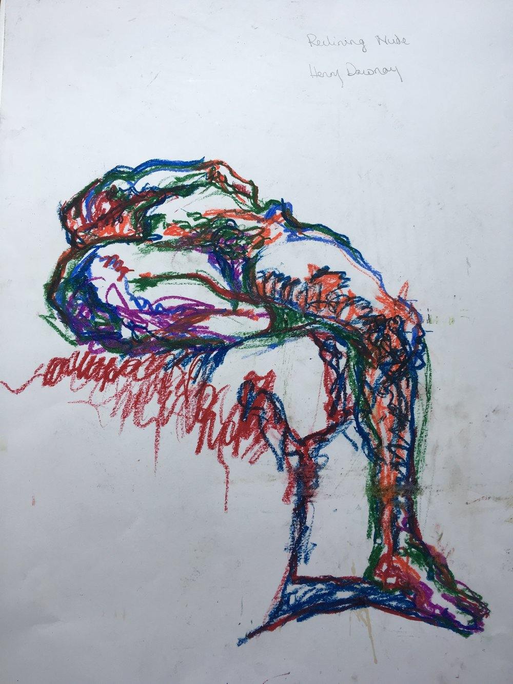 reclining nude  oil pastel on paper  approx 30 by 40 cm  £200