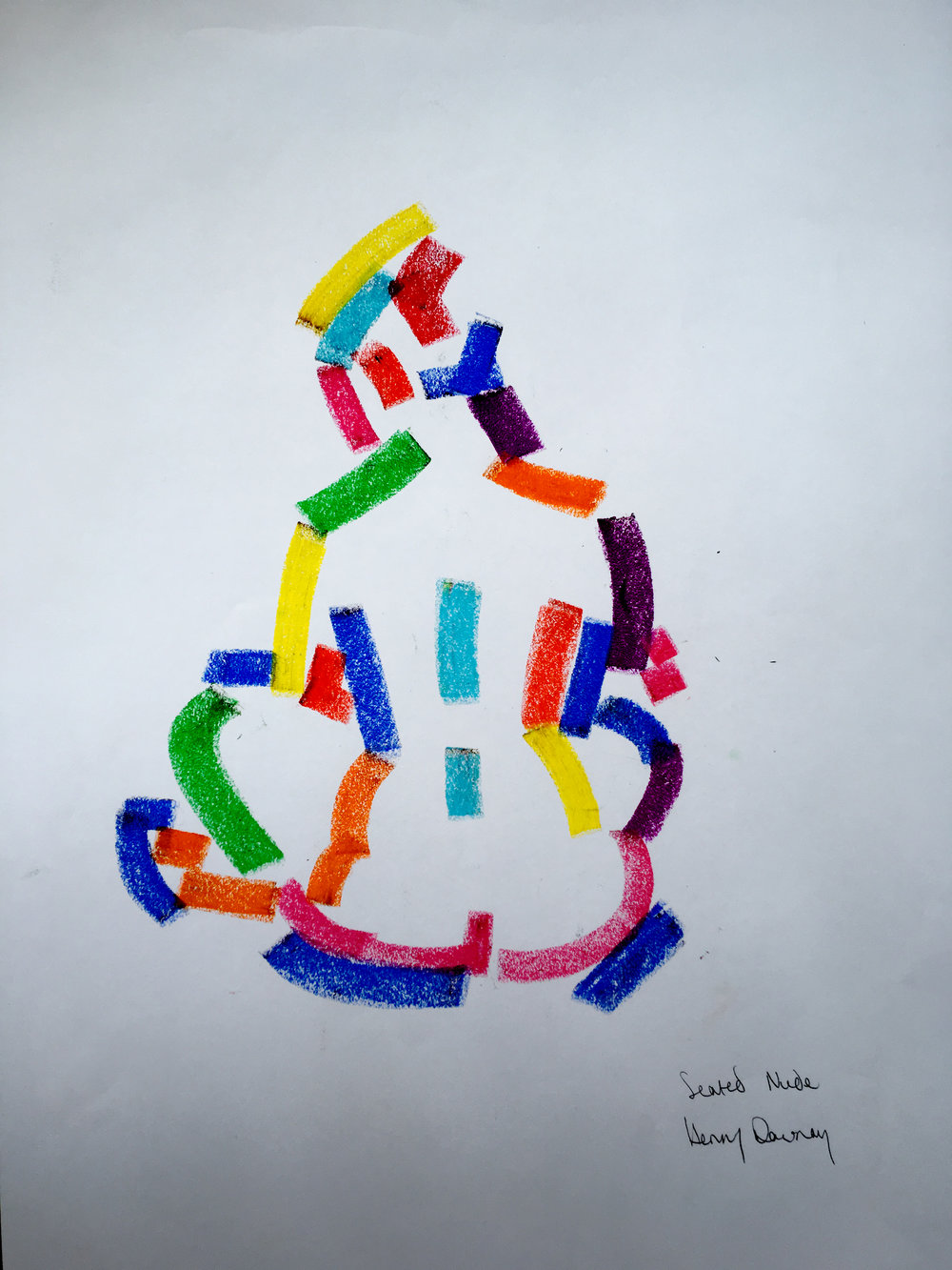 Seated nude  oil pastel on paper  £250  Approx 30 by 40 cm  unframed