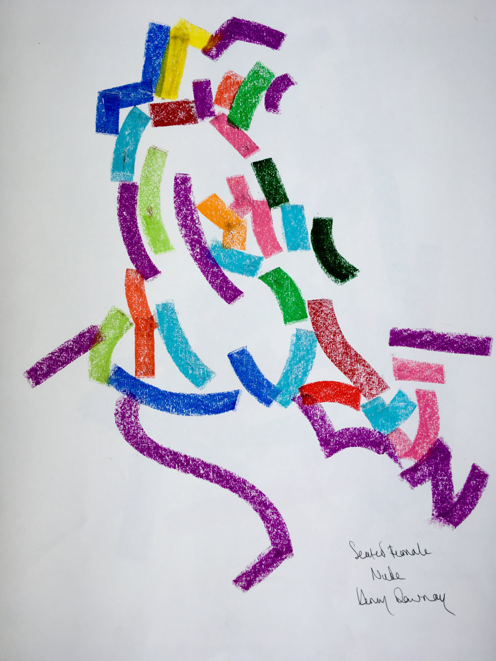 Seated female nude  oil pastel on paper  £250  Approx 30 by 40 cm  unframed