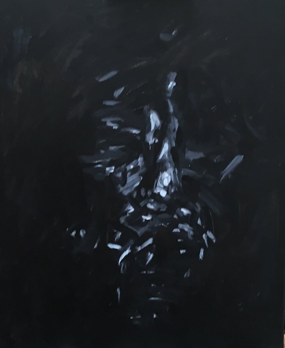 the face in the darkness  acrylic on canvas  £700  50 by 60 cm  unframed
