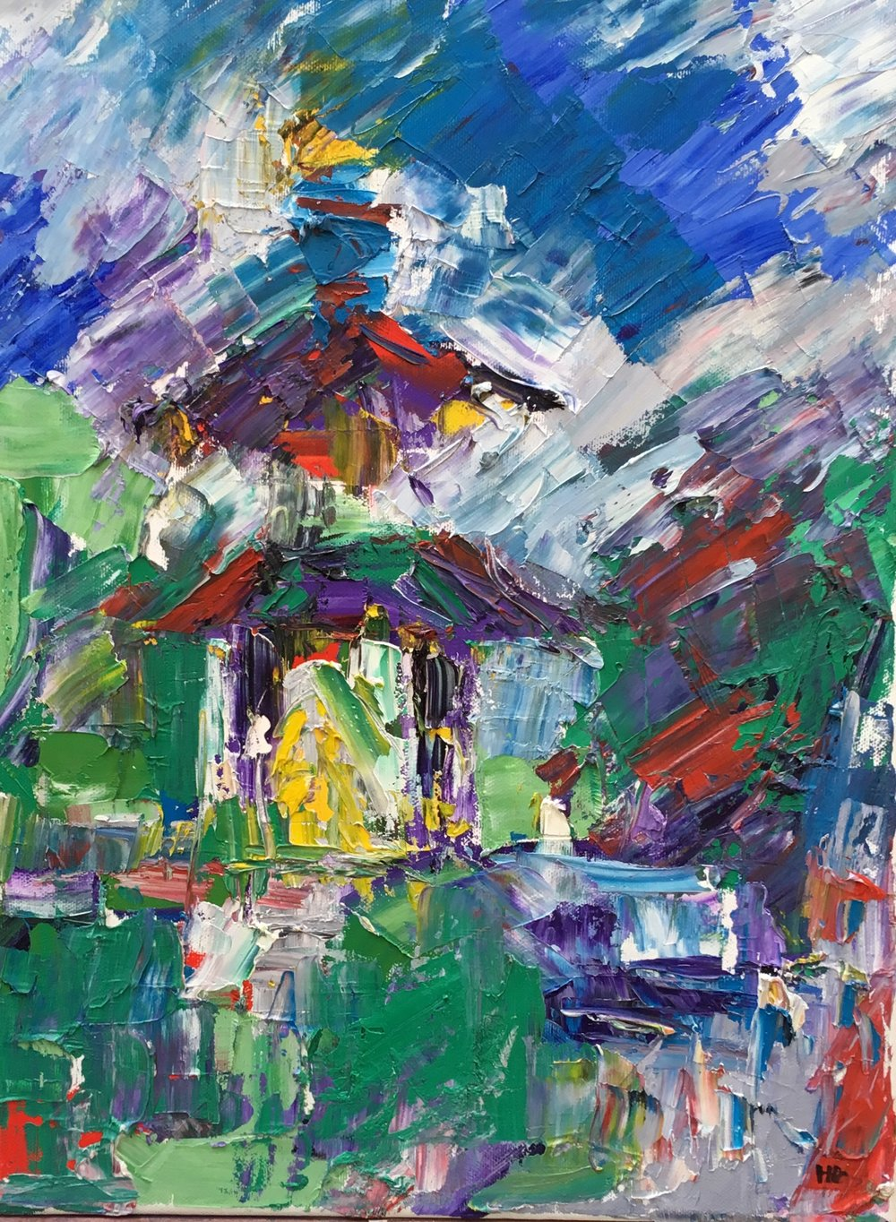 Battersea peace pagoda  oil on canvas  £750  40 by 30 by 1.5 cm  unframed