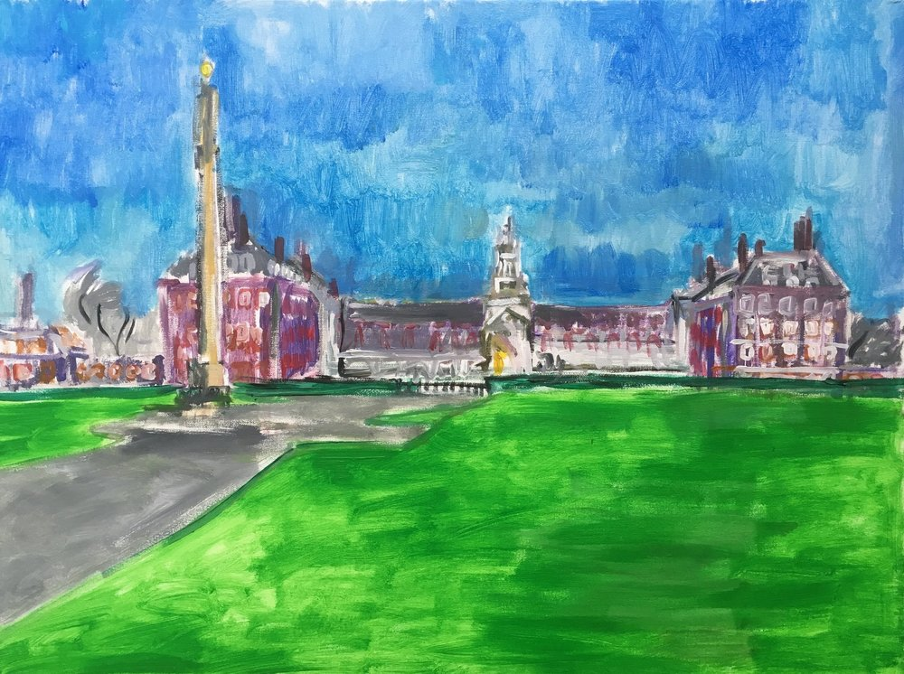 Chelsea hospital   acrylic on canvas  60 by 80 by 1.5 cm  £700  unframed