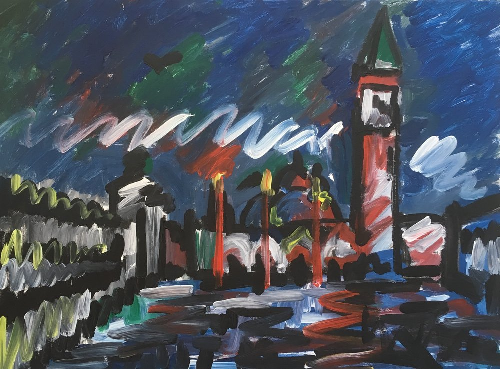 St marks square , Venice  acrylic on canvas  60 by 80 by 1.5 cm  £600  unframed