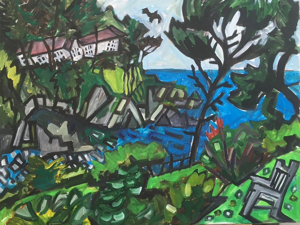 Lee Bay , Devon  acrylic on canvas  60 by 80 by 1.5 cm  £750  unframed