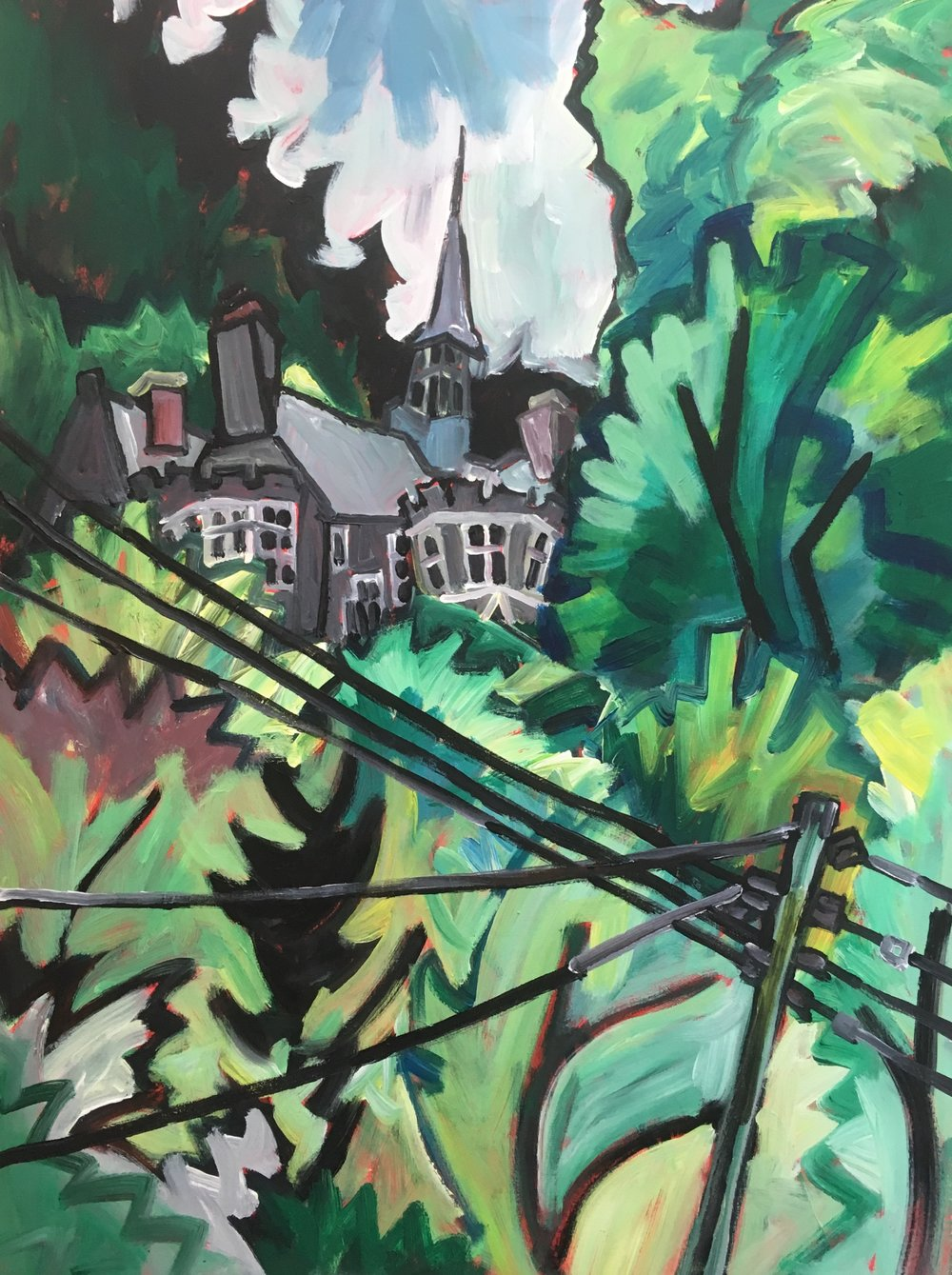 House at Lee Bay , Devon  60 by 80 by 1.5 cm  acrylic on canvas  £750  unframed