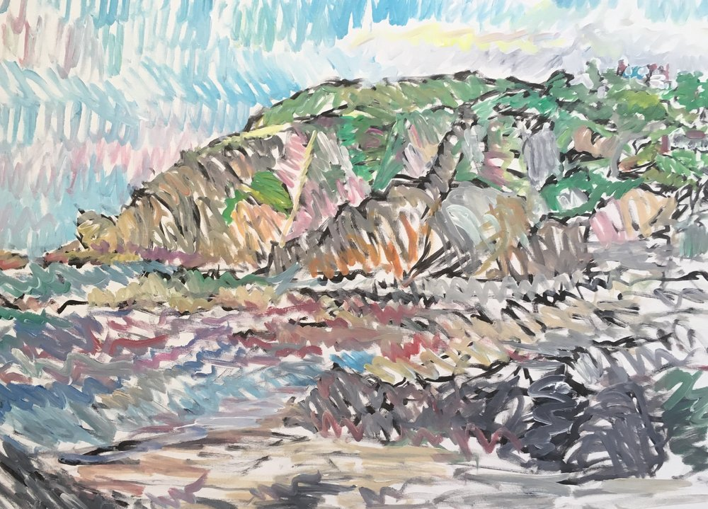Cliffs ,Lee Bay Devon  acrylic on canvas  60 by 80 by 1.5 cm  £750  unframed