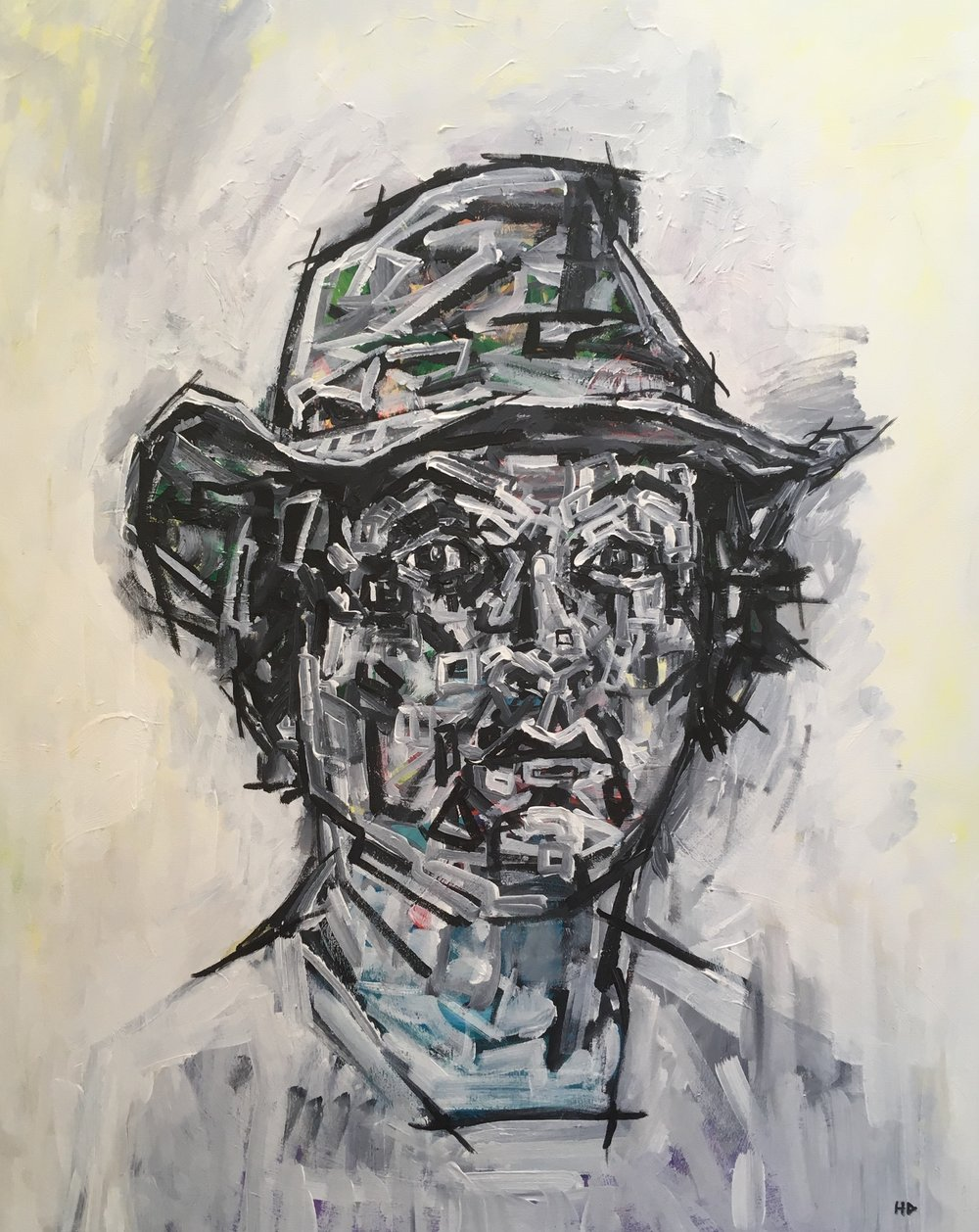 Self Portrait in hat  acrylic on canvas  60 by 80 by 1.5 cm  unframed  £750