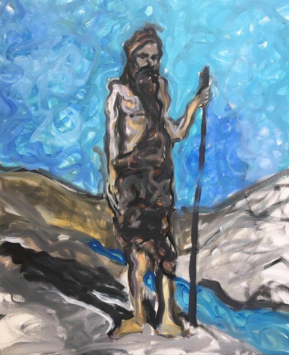 John the Baptist  £650  60 by 50 by 1.5 cm  acrylic on canvas  unframed