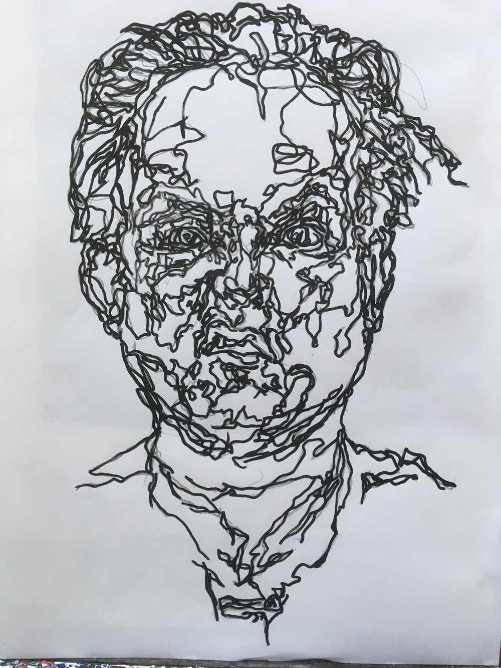 angry self portrait  pen and ink