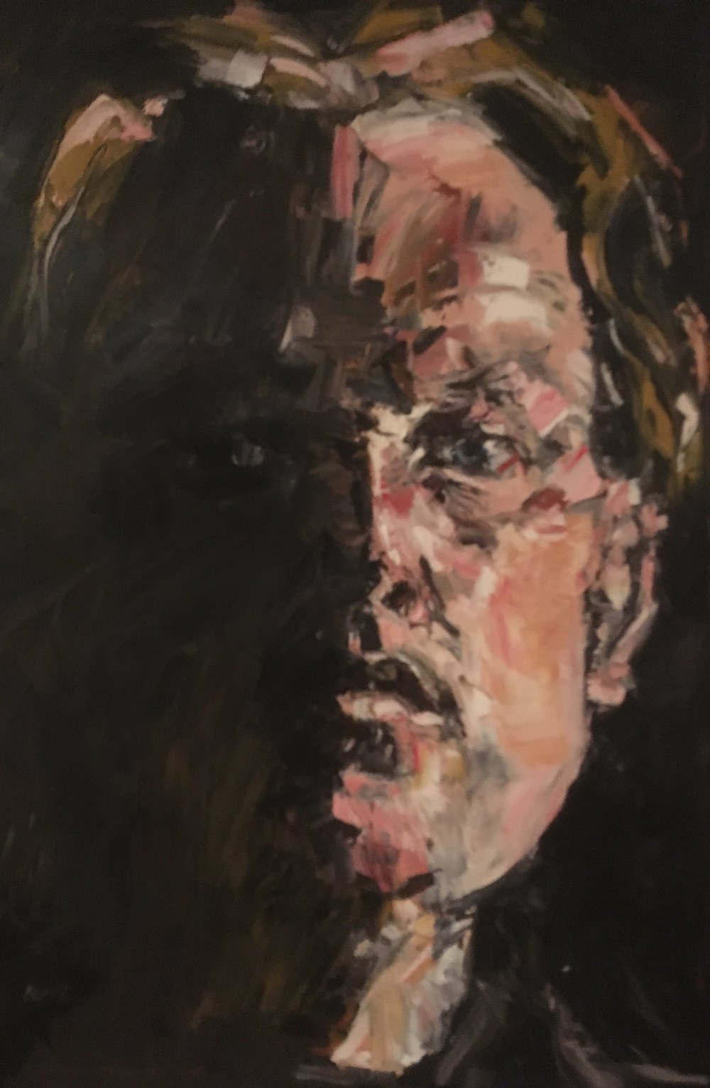 self portrait in shadow  oil on canvas