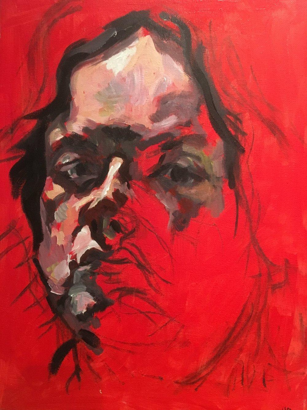 half self portrait  acrylic on canvas