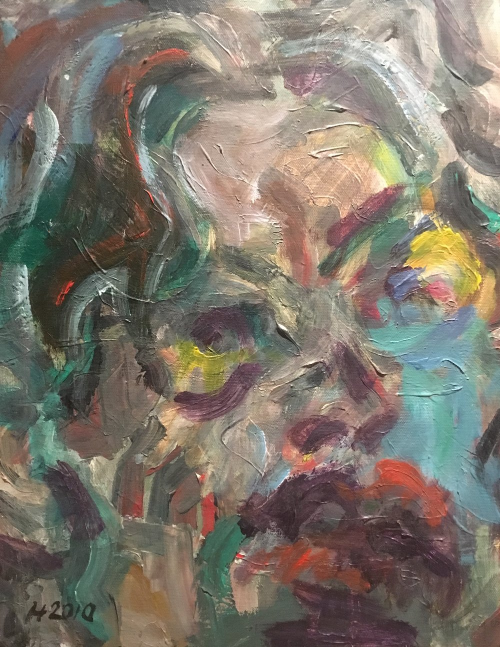 abstract self portrait  acrylic on canvas