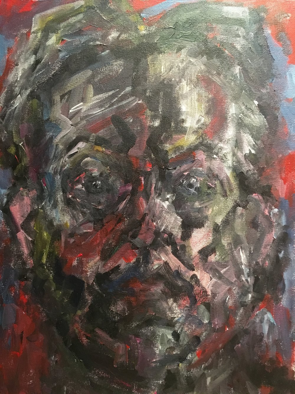 Expressionist self portrait  acrylic on canvas