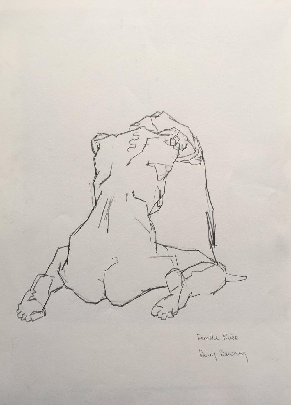 kneeling female nude  pencil on paper