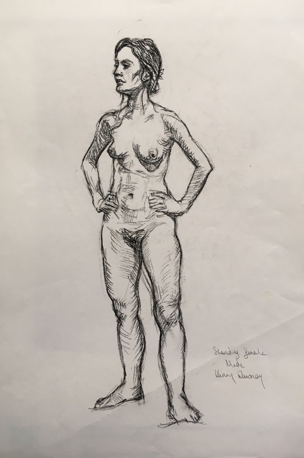 standing female nude  pencil o n paper