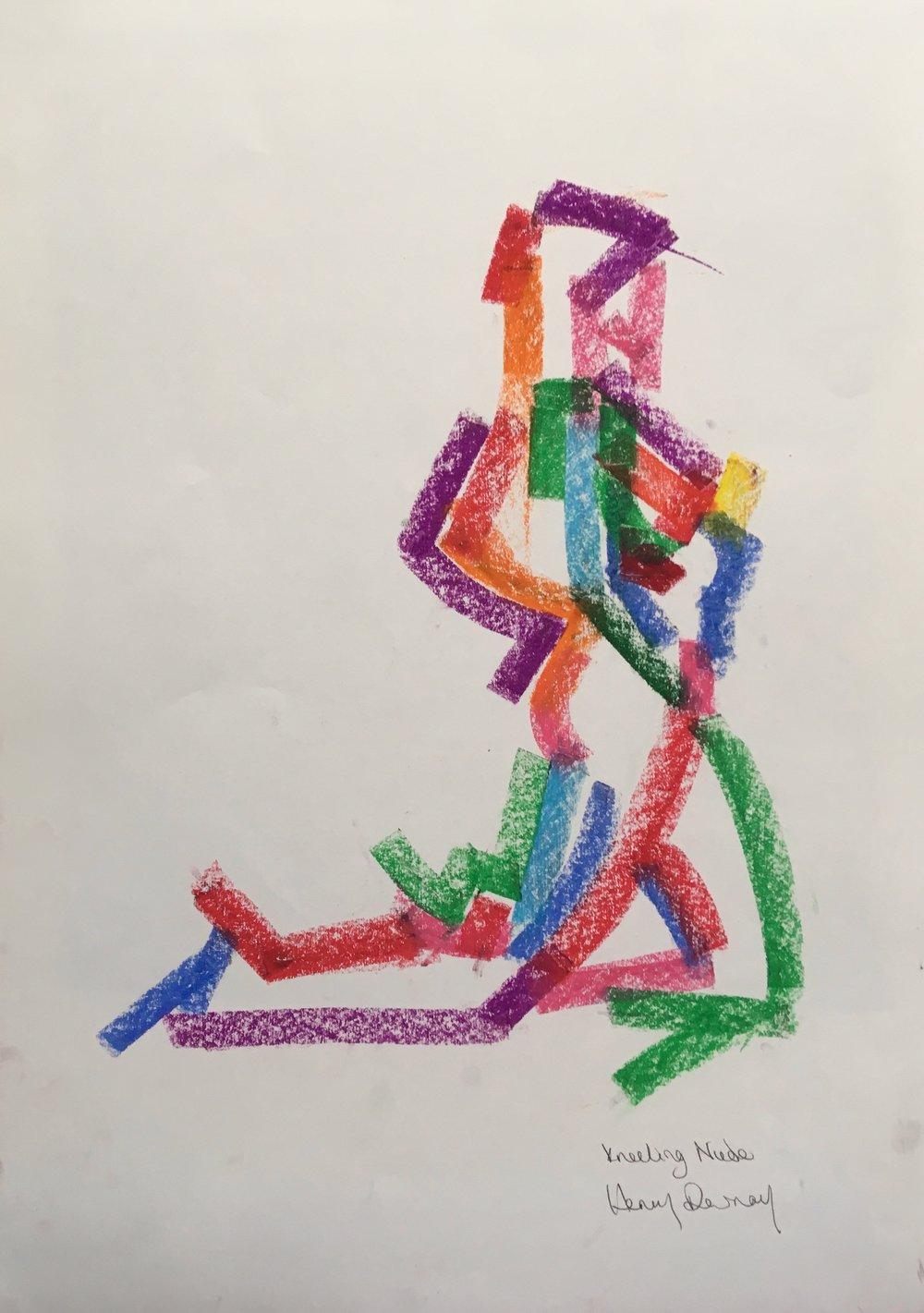 dancer kneeling  oil pastel on paper