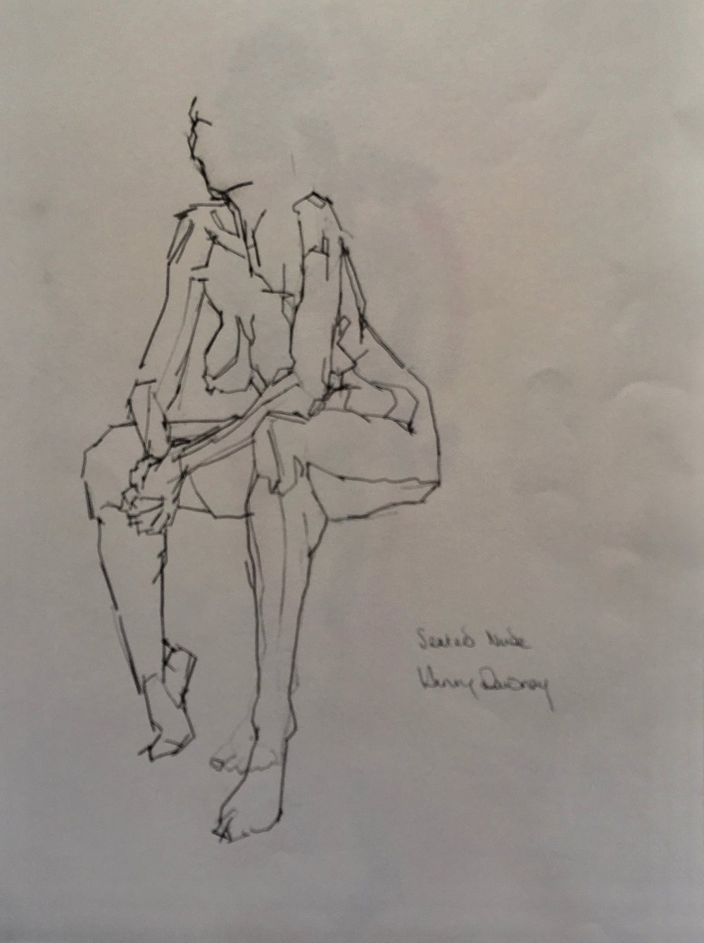 Sitting female nude  pencil on paper