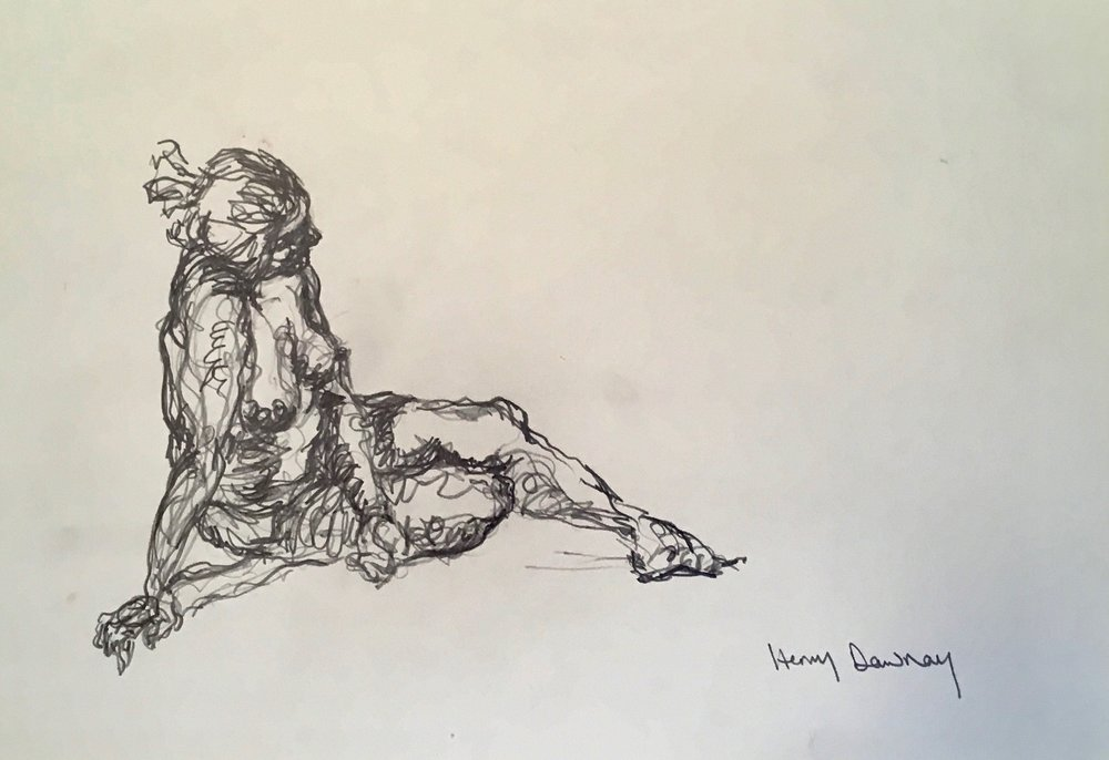 Female nude reclining  pencil on paper