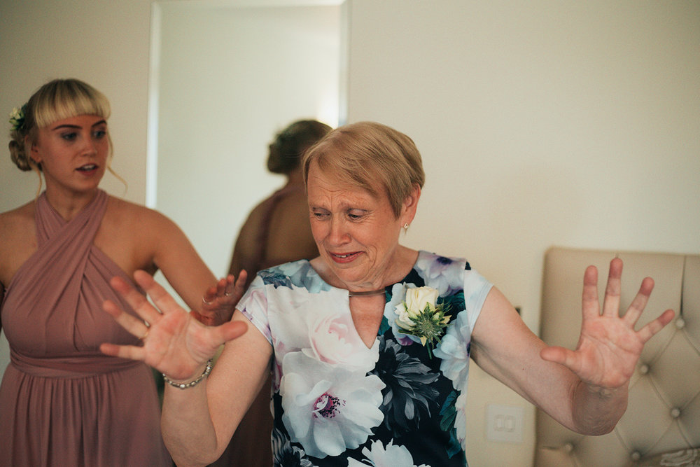 Mother of bride being emotional