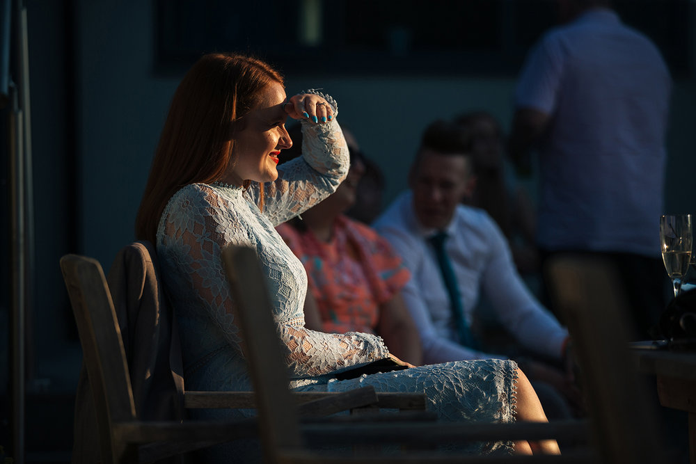 Lady in evening sun light at the wedding