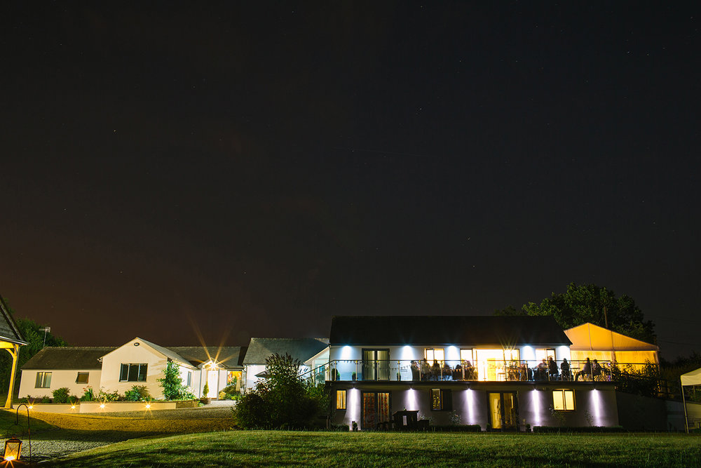 Manor Hill House at night
